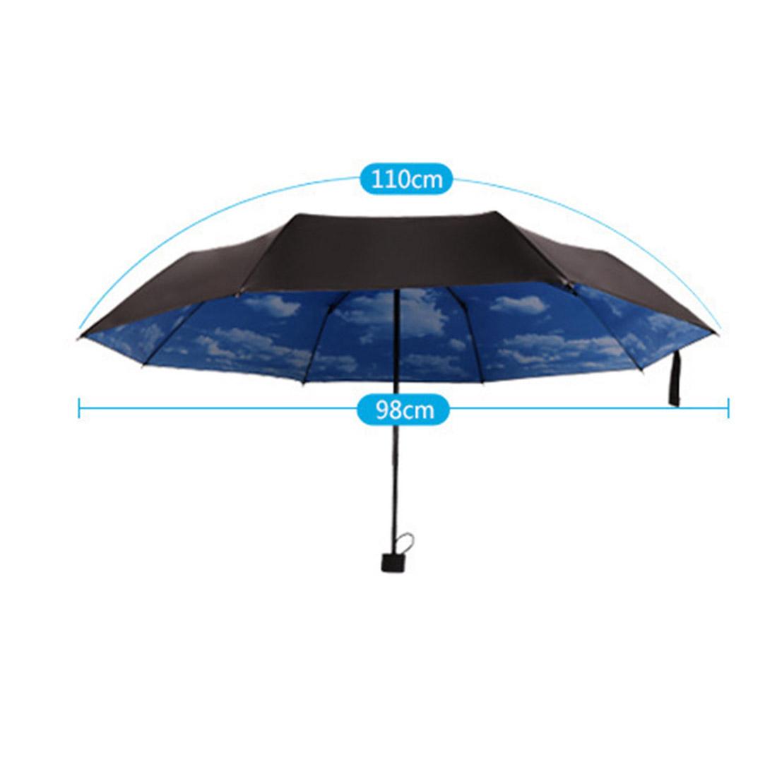 2016 Новый 3 Складной Голубое Небо Супер Анти-Уф Зонтики Вс Зонтик Дождь Зонтик