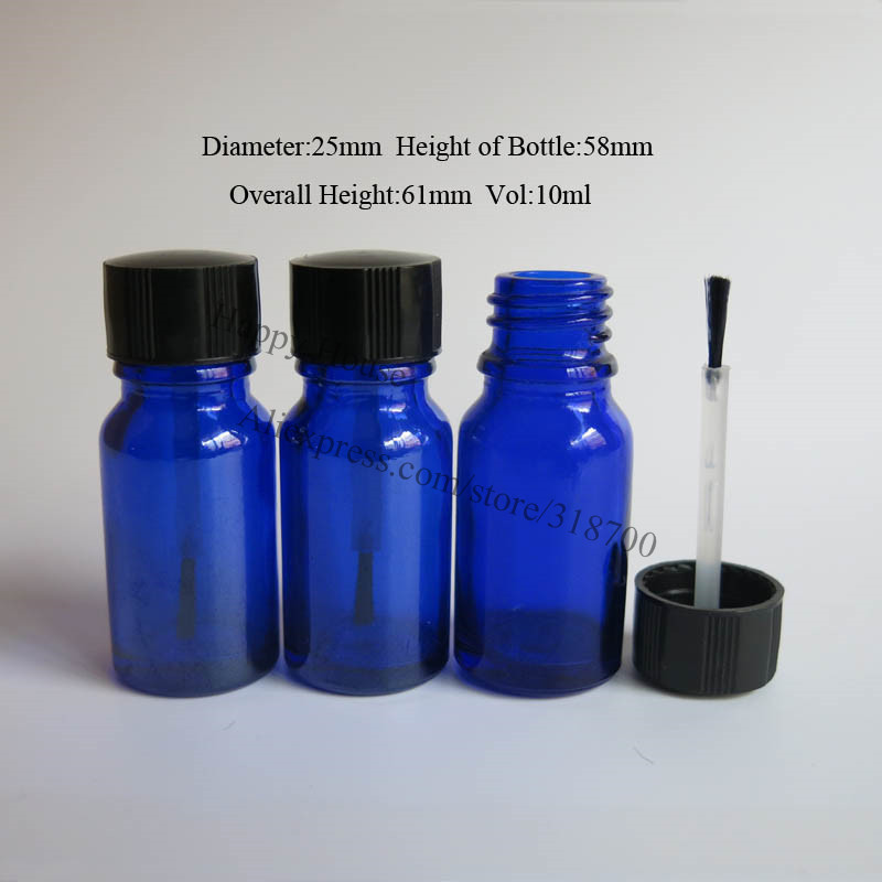 360pcs lot 10ml Cobalt Blue Empty Nail Polish Bottle 10cc Cobalt Blue Container with Brush Cap