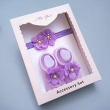 Детская Подарочная коробка, носки с цветами для новорожденных и повязка на голову, подарок на полнолуние, комплекты детских головных уборов...(China)
