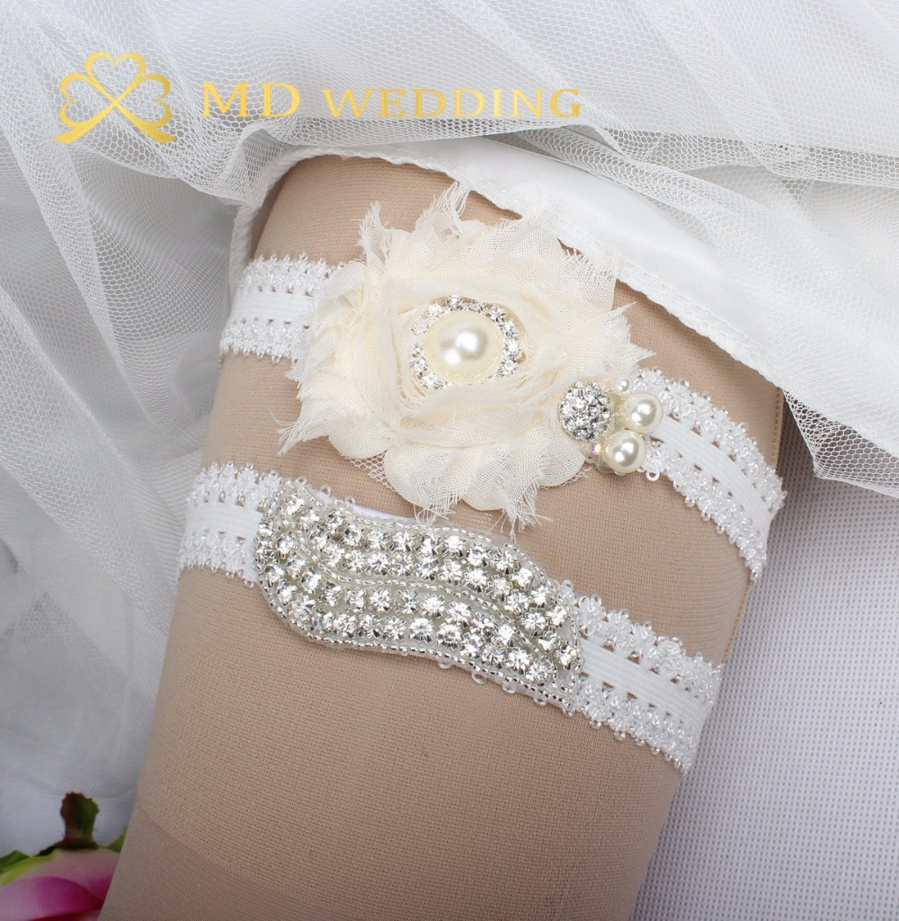 Crystal Wedding Garter: 2 Pcs White Flower Crystal Bridal Garter Belt Wedding