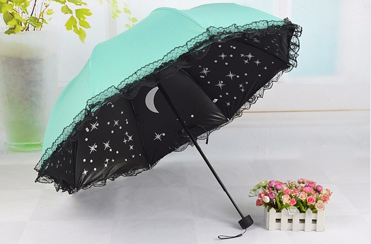 533c844d4c69d1 Women Beautiful Starry Sky Windproof Anti UV Sun Rain Princess Lace  Umbrella Folding Parasol Girls Gift - us349