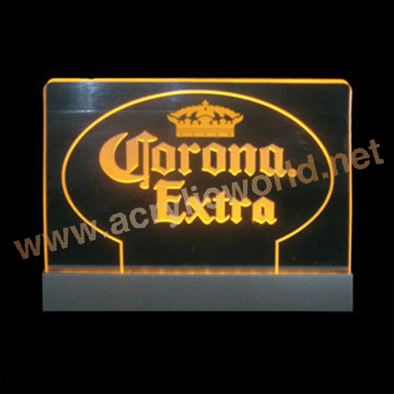 Acrylic Edge Lit Table Top Sign Custom Etched Edge Lit