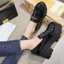 2019 new fashion British style black women s flat leather shoes wild thick  bottom increased women s shoes b7a2113d260b