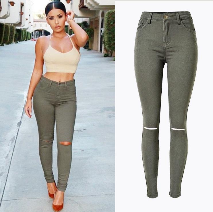 buy new fashion ladies armee verte slim jeans dechires skinny jean taille haute. Black Bedroom Furniture Sets. Home Design Ideas