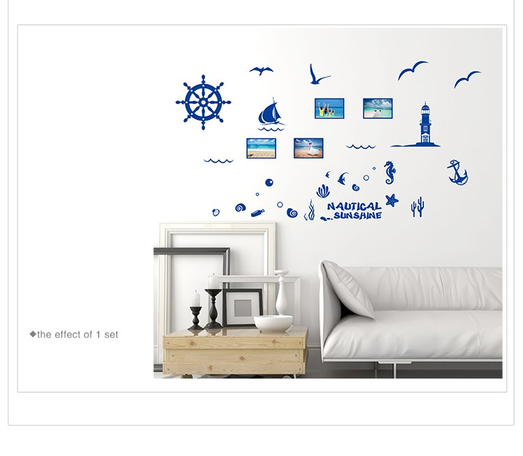 ⑥nautical Decor Wall Sticker Mediterranean Blue Blue