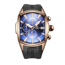 Большие спортивные часы Reef Tiger/RT с резиновым ремешком, мужские часы со стальным синим циферблатом, водонепроницаемые часы с хронографом, час...(Китай)