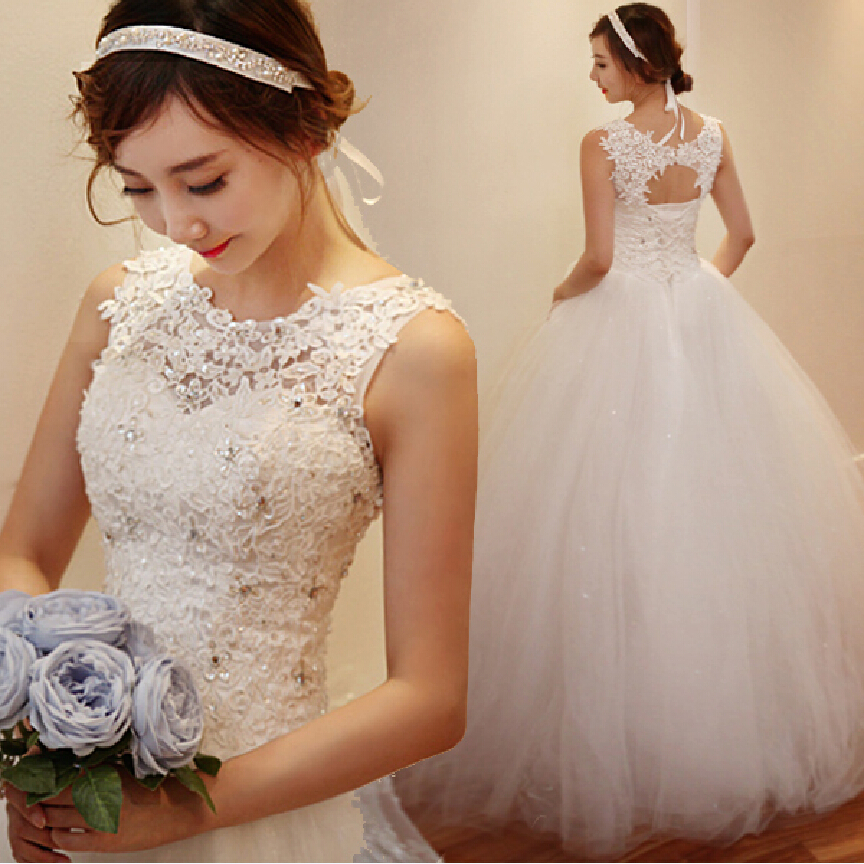 Cheap Plus Size Ball Gown Wedding Dresses: Cheap Korean Simple White Lace Wedding Dress 2016 Plus