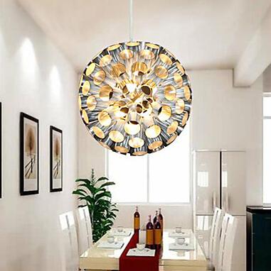 Modern metal pendant lights with ball lamp shades living - Modern lamp shades for living room ...
