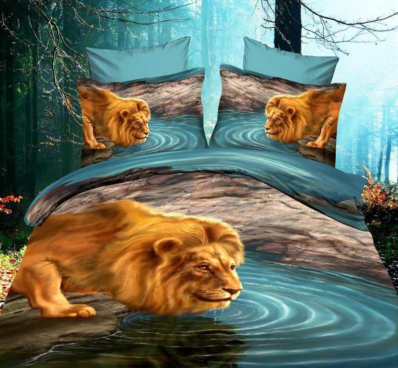 3d Lion Aqua Blue Water Comforter Bedding Set For Queen