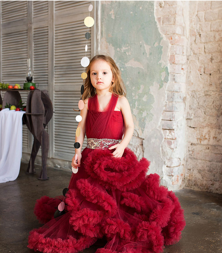 Cloud little flower girls dresses for weddings Baby Party frocks sexy children images Dress kids prom dresses evening gowns 2016 7