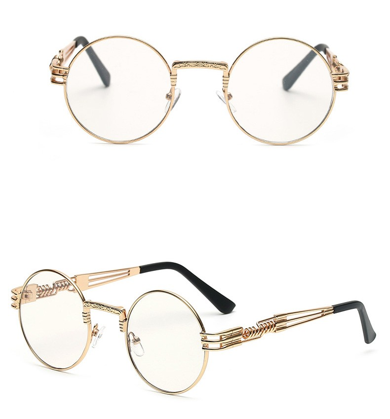 094320bde842 Wholesale- Peekaboo Clear Fashion Gold Round Frames Eyeglasses for ...