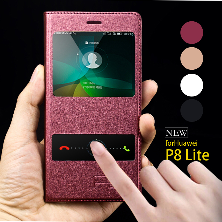 reputable site 7063a dac7d Original Mobile Phone Fundas Huawei P8 Lite Cover Flip Case Leather Smart  Window Magnetic P8 Lite Sleep Protective Shell Skin