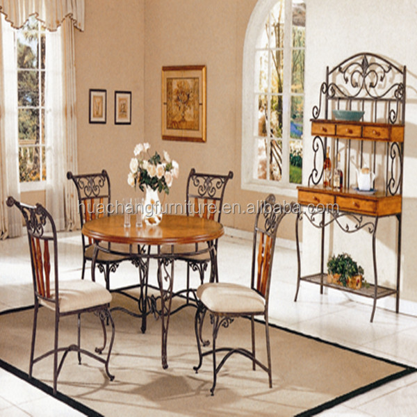 Wrought Iron Round Shaped Dining Table/chairs/baker's Rack
