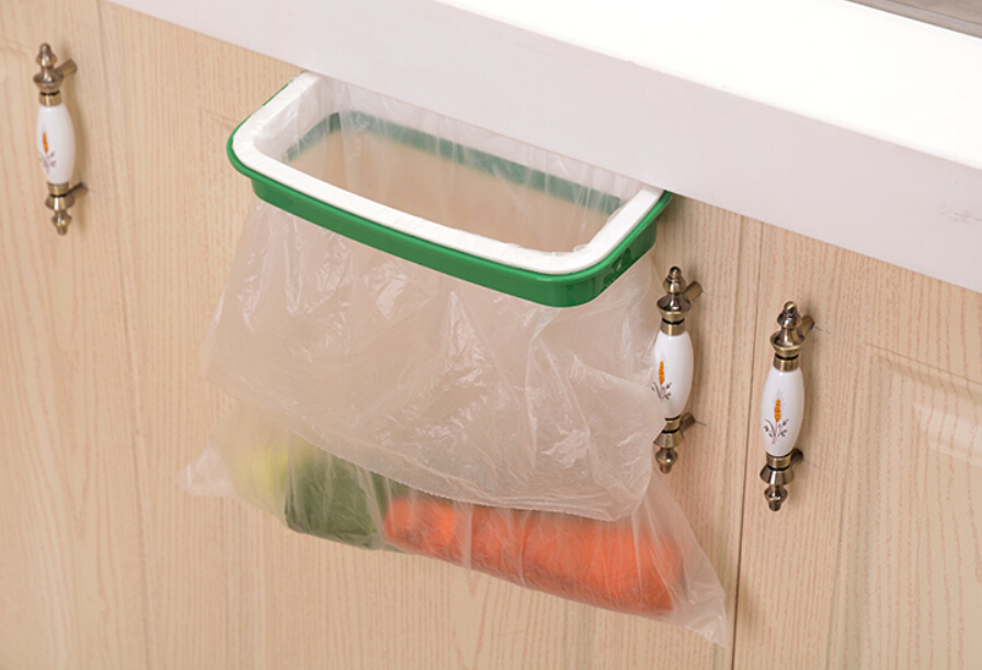 Kitchen Waste Basket Holder: Cupboard Hanging Garbage Bin Trash Bag Clip Kitchen