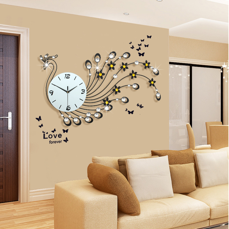 Large Peacock Wall Clock Modern Design Living Room Wall