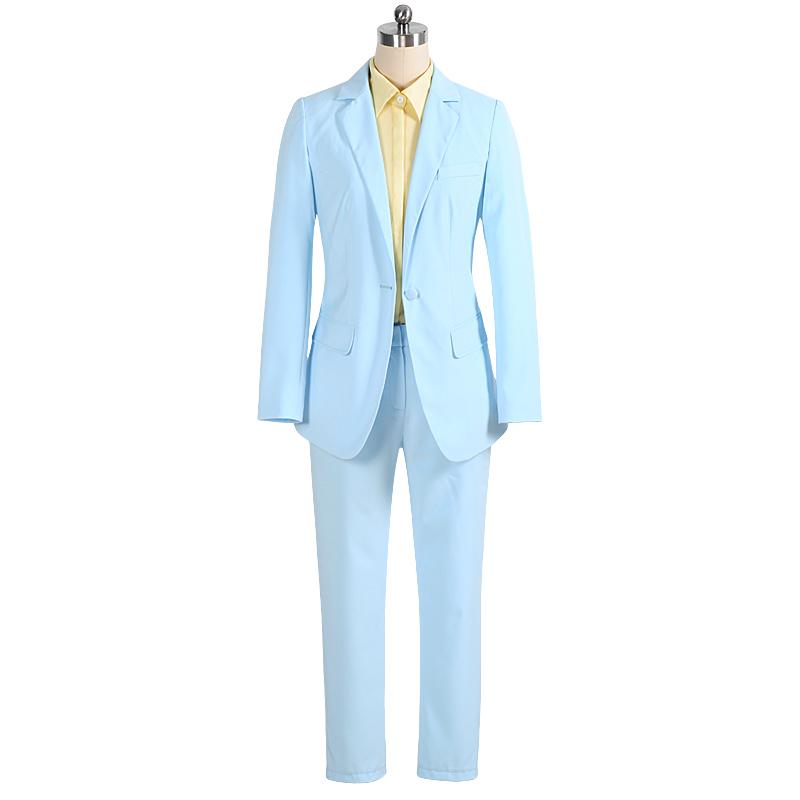 Мода женские брюки костюмы 2015 новинка длинный блейзер длинные брюки 2 шт. женщин устанавливает голубой одного buttton тонкие формальные костюмы