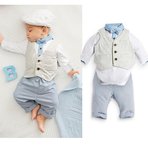 2016 new British style baby boy clothes Gentleman suits baby rompers + pants + vest clothing set