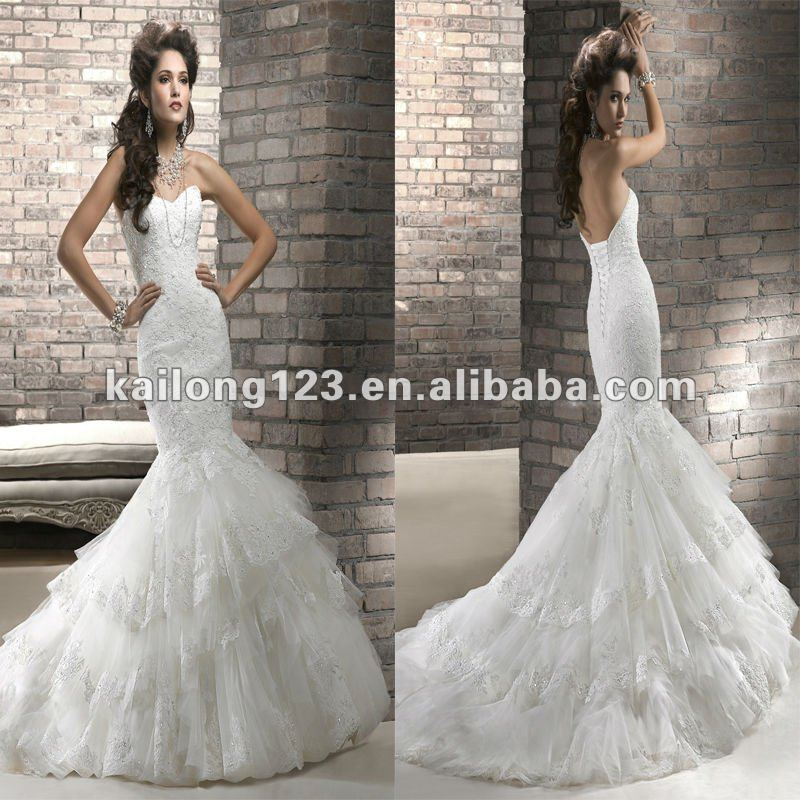 Intricate Sweetheart Mermaid Chapel Train Ivory Fit And
