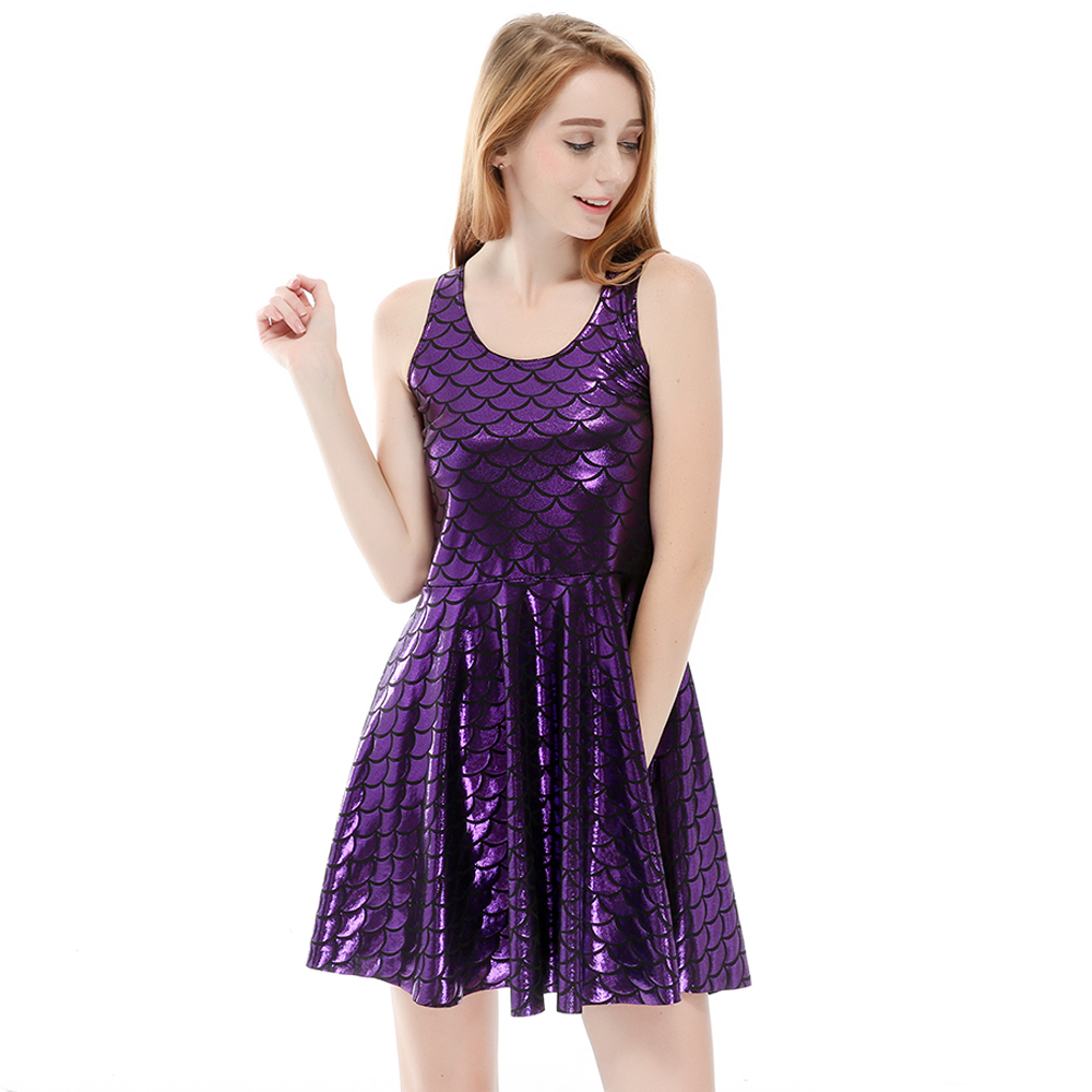 8a2eb514b4 2017 NEW Fashion Women Expansion dress purple Fish scales print silm free  shipping s to 4