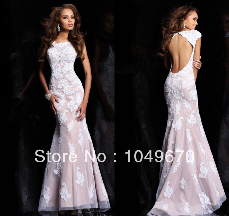 Haute Couture 2014 Cap Sleeves Lace Prom Dresses Mermaid ... Lace Prom Dresses 2014