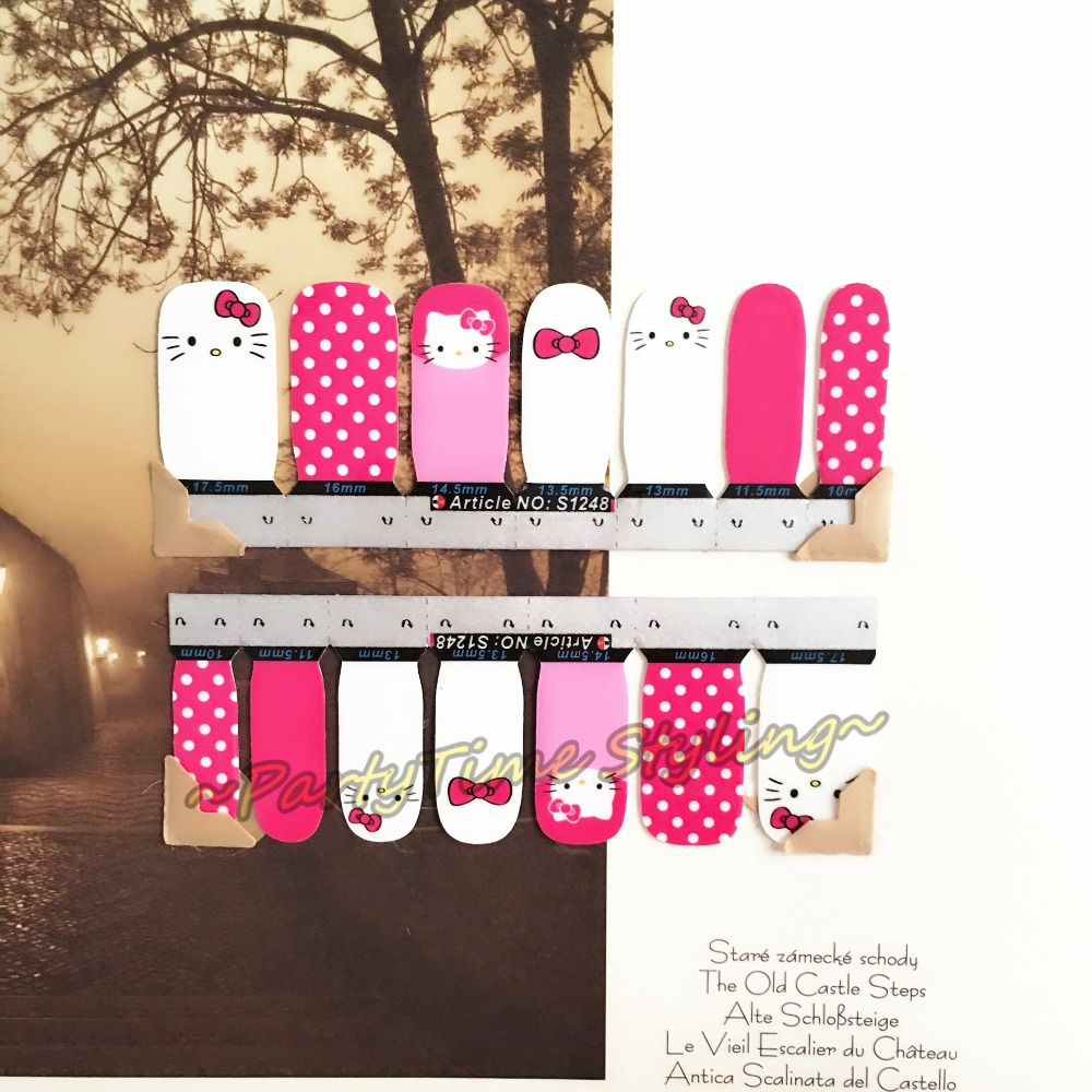 Lovely Kitty Cat Nail Art Sticker Patch 14 pcs set Waterproof Decals Foils Gel Polish French