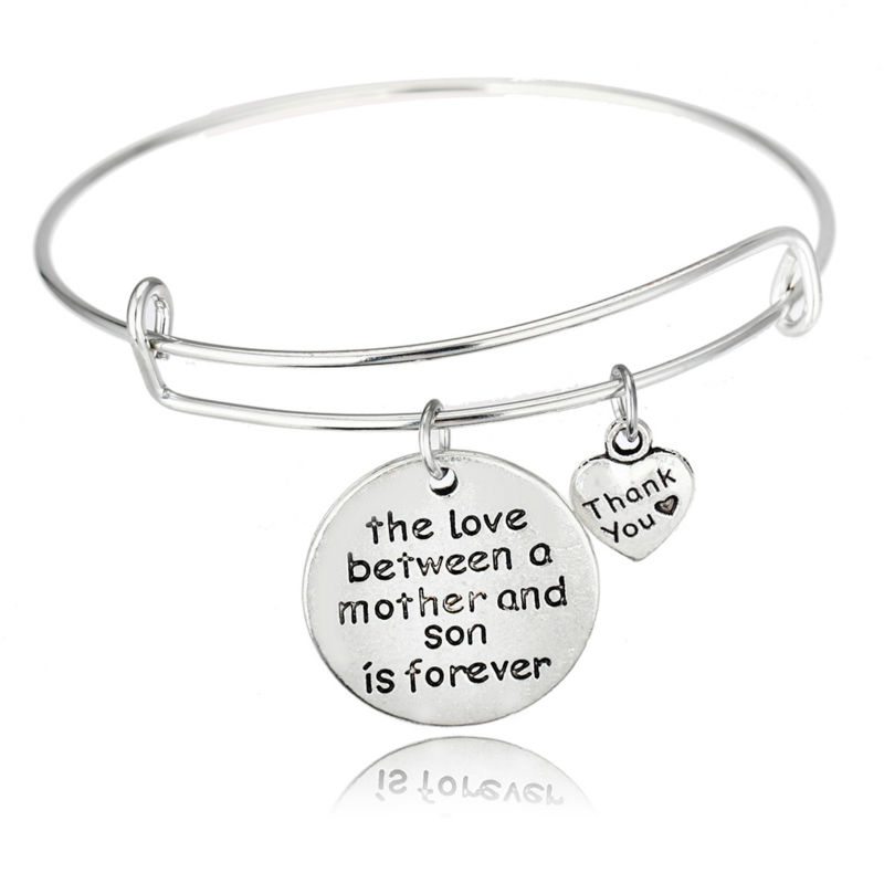 Wholesale- Love Between Mother And Son Bracelet Heart Thank You Charm  Family Love Mother s Gifts Mom jewelry Female