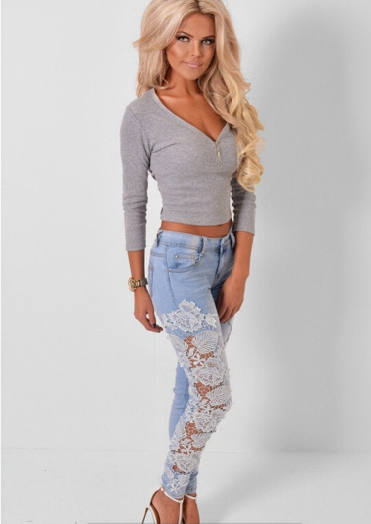 2019 Sexy Women Denim Light Blue Skinny Jeans Crochet Lace
