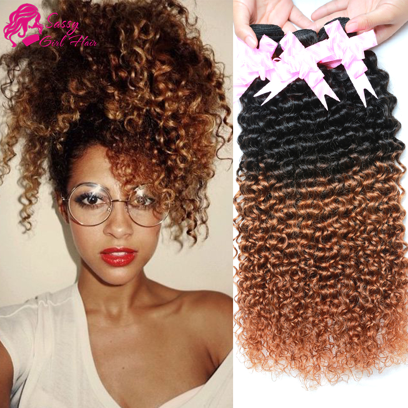 Vip Beauty Hair Malaysian Curly Hair Extensions Bundle Two Tone 4pcs Ombre Kinky Curly Hair Afro