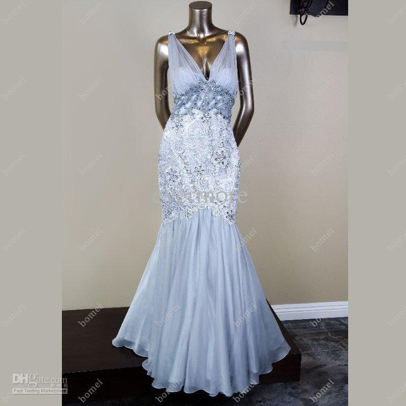 Light Blue Mermaid Organza Floor length Lace Beaded V neck ... Lace Prom Dresses 2013