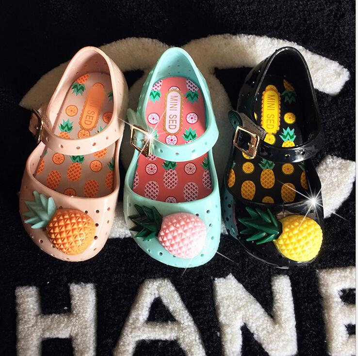 2016 new jelly shoes children mini Melissa kids baby sandals hollow jelly shoes pineapple Baby Shoes