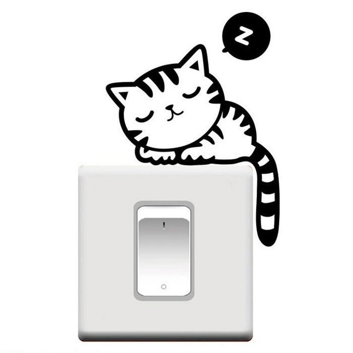 Wholesale- KAKUDER Room Window Wall Decorating Switch Vinyl Decal Sticker  Decor Cartoon Switch Stickers home decor 10IT