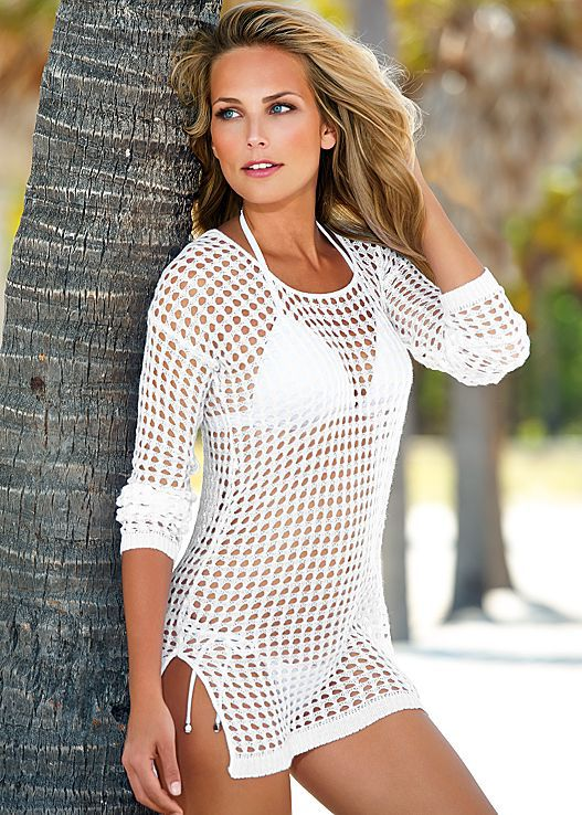 Cover up without concealing too much in this net kimono swimsuit cover-up featuring a sheer open net material, kimono inspired sleeves and an open front.