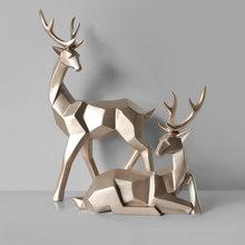 Скандинавский стиль Креативные 3D твердые геометрические счастливые олени украшения из смолы ремесло для домашнего интерьера для украшени...(Китай)