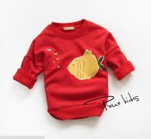 Bubble fish retails children baby girl Batwing sleeve thicken fleece cotton winter hoodies sweater Kids sweatshirt Hot
