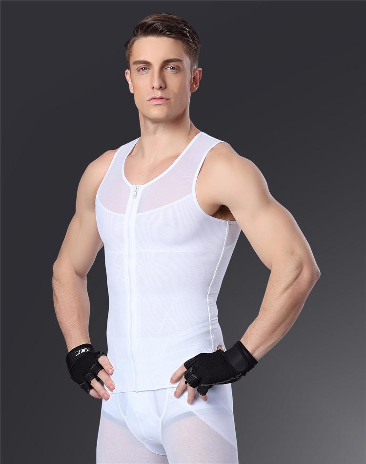 aef8364dc1a49 2019 Men Chest Shaper Bodybuilding Shirt Corset Male Shaper Leg ...