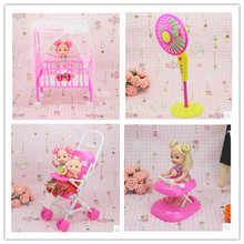 Free Shipping doll furniture Baby bed Trolley Walker fanner 4 set doll accessories for Barbie Doll