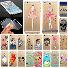 Phone Case Cover For iPhone 5 5S Ultra Soft Silicon Transparent Cute Girl Flowers Animals Cartoon Patterns Free Shipping Mix