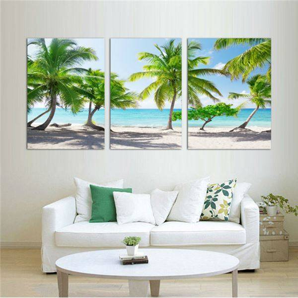 Modern Wall Art Home Decoration Printed Oil Painting Pictures No Frame Canvas Prints 3 Piece Coconut Palm Beach Scenery -33437-J