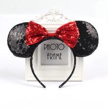 Милая повязка на голову в горошек с мышкой и бантом, аксессуары для волос с ушками мышки, нарядная шляпа для детей, для девочек, для празднова...(Китай)
