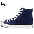 Wen Hand Painted High Top Blue Canvas Shoes Customize Offer Pictures You Like Accept Bargain According