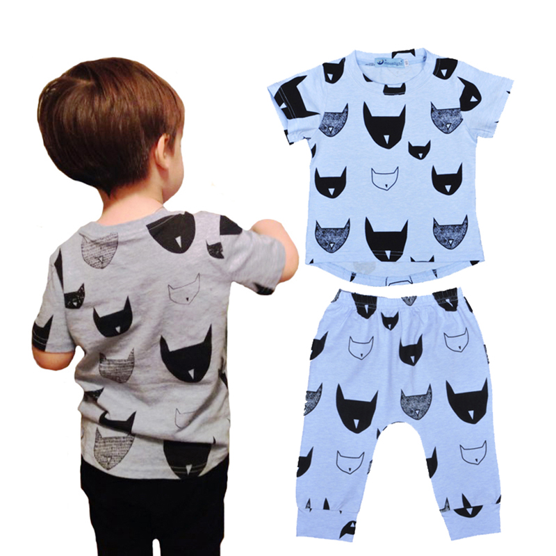 2016 summer bobo choses boy kids clothing set cartoon batman pattern t shirt Harem pants 2pcs