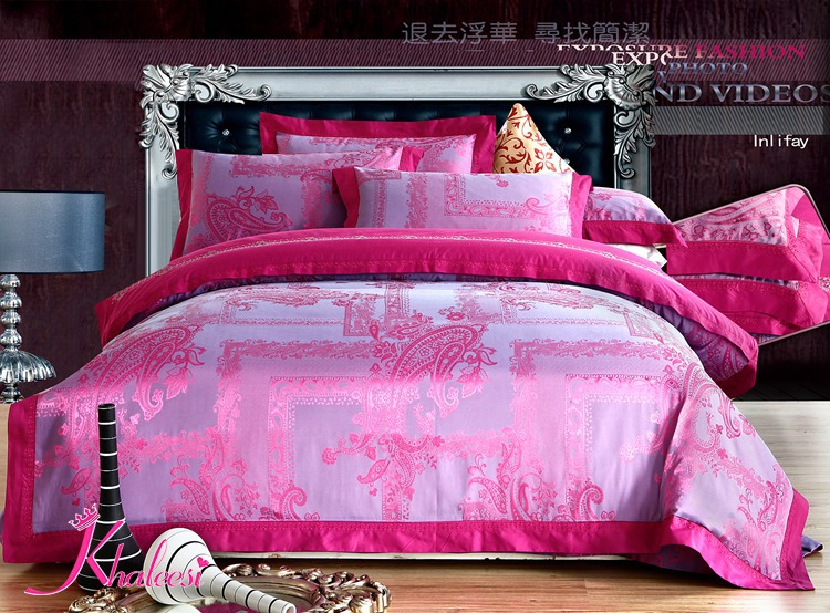 luxury satin bed set light pink flower jacquard bed cover bed linen bed sheet king queen size. Black Bedroom Furniture Sets. Home Design Ideas