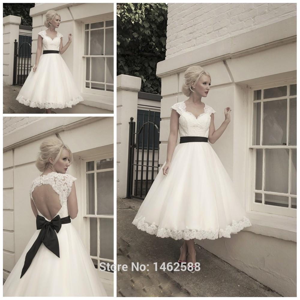 Vintage 1960s Wedding Dresses: Vintage 1960's Style Lace Cap Sleeves Black Bow Sashes Tea
