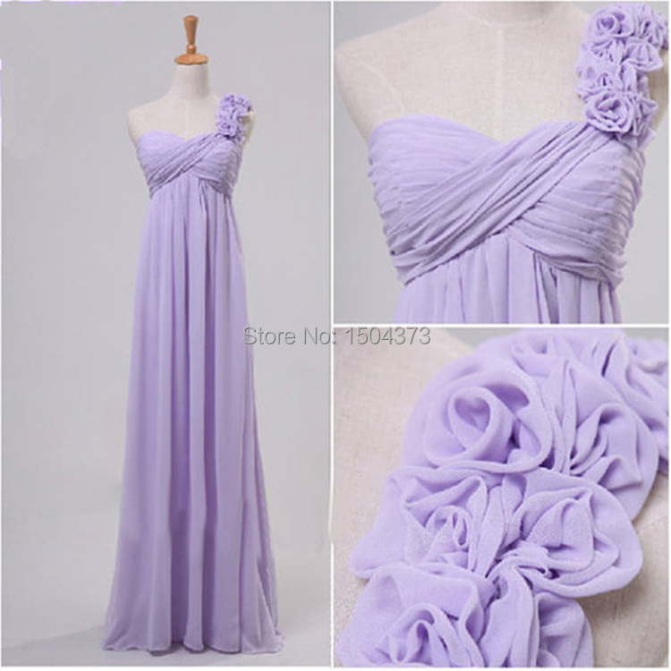 One Shoulder Purple Long Bridesmaid Dresses A Line Empire ...
