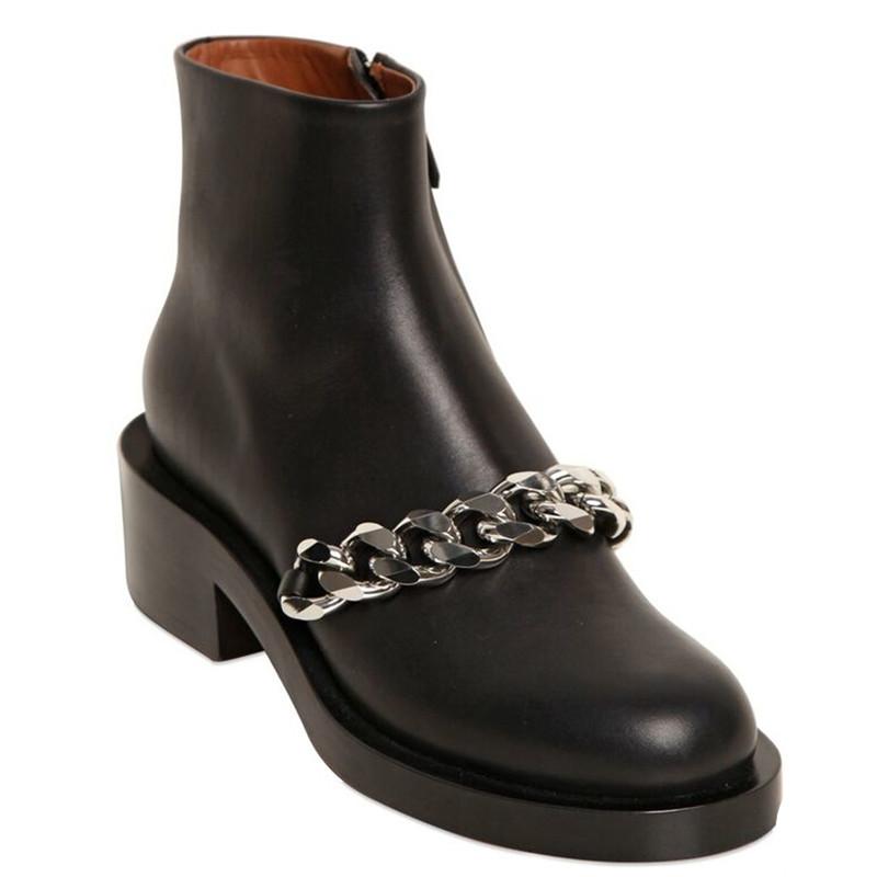 New Fashion Shoes Woman 2015 Chains Zip Ankle Boots Unique