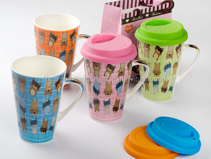 Ceramic Coffee Mug With Silicone Lid Double Wall Ceramic