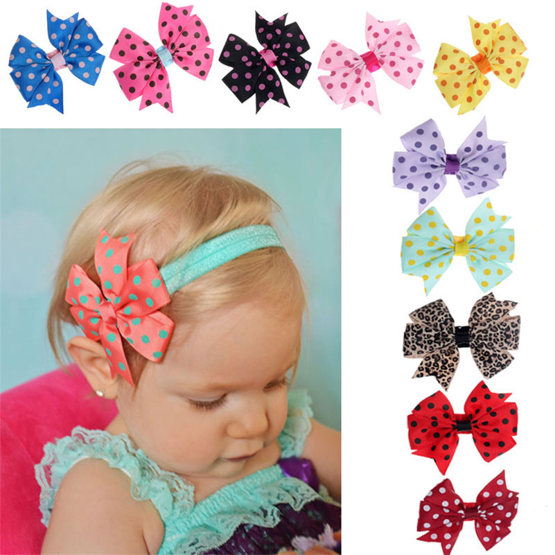 Stylish 2015 10Pcs lot Babys Headband Hairband Elastic Cloth Wave Point Bowknot Photography for girls Children