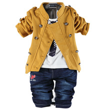 fashion spring autumn cotton denim newborn baby boys clothes set double breasted coat t shirt jeans