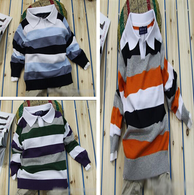 baby boy sweater hot sale boys clothes Lapel striped sweater kids clothing clothes for boys simple