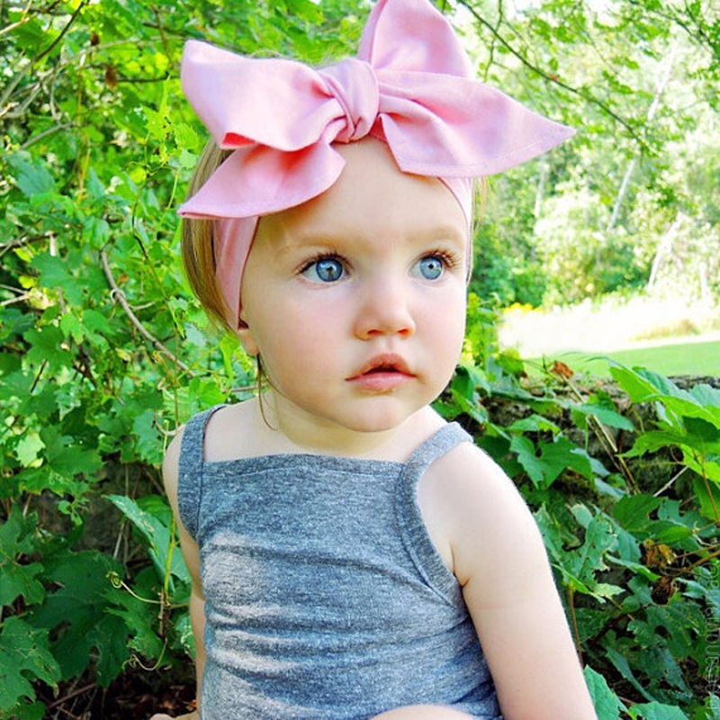 2016 New Children Hair Accessories Fashion Baby Kids Girls Solid Turban Rabbit Ears Headband Big BowKnot